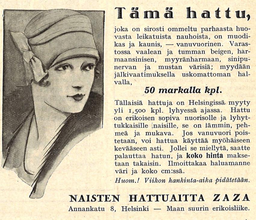 Naisten hattuaitta KL No 6 v 1927