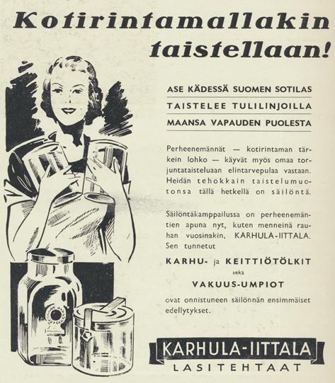 Iittalan mainos vuodelta 1943